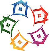 Real estate 5 houses icon