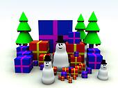 Snowman and Christmas Presents