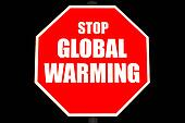 Stop Global Warming Sign Isolated on Black