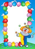 Party invitation frame with clown 4