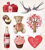 Set of romantic items for valentine