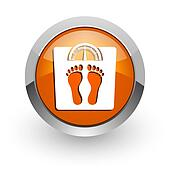 weight orange glossy web icon