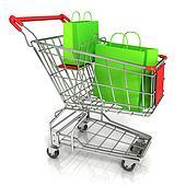 Shopping cart full of green bags