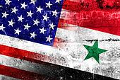USA and Syria Flag painted on grunge wall