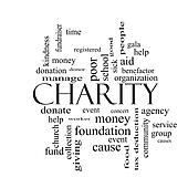 Charity Word Cloud Concept black and white