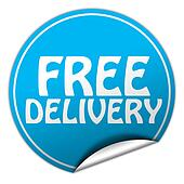 FREE DELIVERY round blue sticker on white background