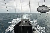 Battleship at high speeds on the open sea