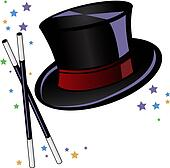 Magicians top hat and wand with stars