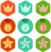 Vector achievement badges - gold, silver, bronze