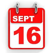 Calendar on white background. 16 September.