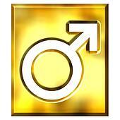 3D Golden Male Symbol Sign