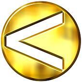 3D Golden Framed Strict Inequality Symbol