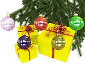 Colored balls with christmas tree branch
