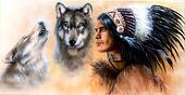 animals wolf and portrait of american indian in national dress