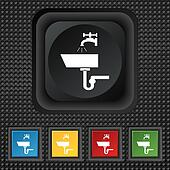Washbasin icon sign. symbol Squared colourful buttons on black texture.