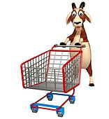 cute Goat cartoon character with trolly