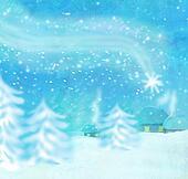 Beautiful winter landscape, falling star
