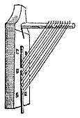 Angle harp, vintage engraving.