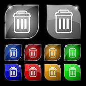 the trash icon sign. Set of ten colorful buttons with glare.