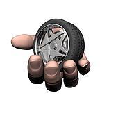 car tire wheel on the hand