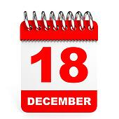 Calendar on white background. 18 December.