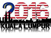 Kuala Lumpur skyline 2016 flag text illustration