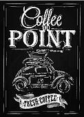Retro poster coffee point chalk