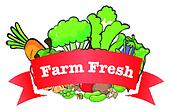 A farm fresh label with fresh vegetables
