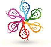 Multicolored musical notes logo