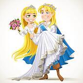 Wedding of Prince Charming and fairytale princess