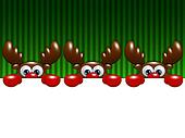 christmas cartoon reindeers over green background holding blank