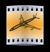 3d model Flying airplane. The film strip