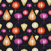 Watercolor raster seamless chinese pattern