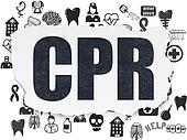 Healthcare concept: CPR on Torn Paper background