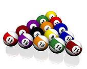 fifteen pool billiard balls