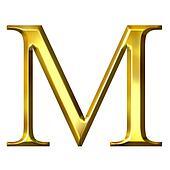 M Letter In Gold 3D Golden Greek Letter My