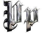 Metallic patterned letter of german gothic alphabet font. Letter P