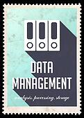 Data Management on Blue in Flat Design.