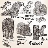 Decorative vector elements and animals for hunting design
