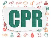 Health concept: CPR on Torn Paper background