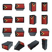 east timor flags 3D Box with  mesh texture