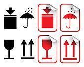White transport labels badges