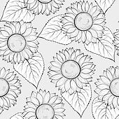 black and white seamless background with sunflowers.