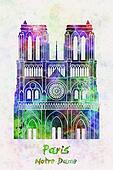 Paris Landmark Notre Dame in watercolor