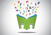 hand holding open book with flying alphabets n question mark. two little human or children hands holding a green study book with flying alphabet and question mark - education concept illustration