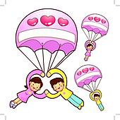 Husband and Wife Mascot flying big balloons. Home and Family Cha