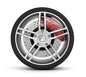 Super car disc-brake. Car wheel.