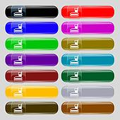 lunch box icon sign. Set from fourteen multi-colored glass buttons with place for text.