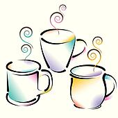 3 colorful coffee cups