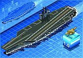 Isometric Aircraft Carrier in Navigation in Front View